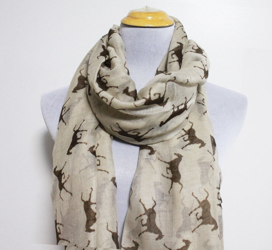 Taupe Brown Horse Scarf - Bean Concept - Etsy