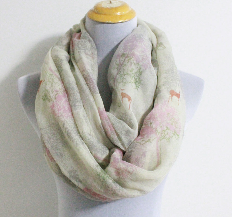Pink Life of Tree with Deer Infinity Scarf - Bean Concept - Etsy
