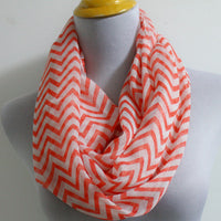 Auburn Orange Chevron and Color Block Infinity Scarf - Bean Concept - Etsy