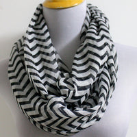 Chevron Scarf Black White - Bean Concept - Etsy