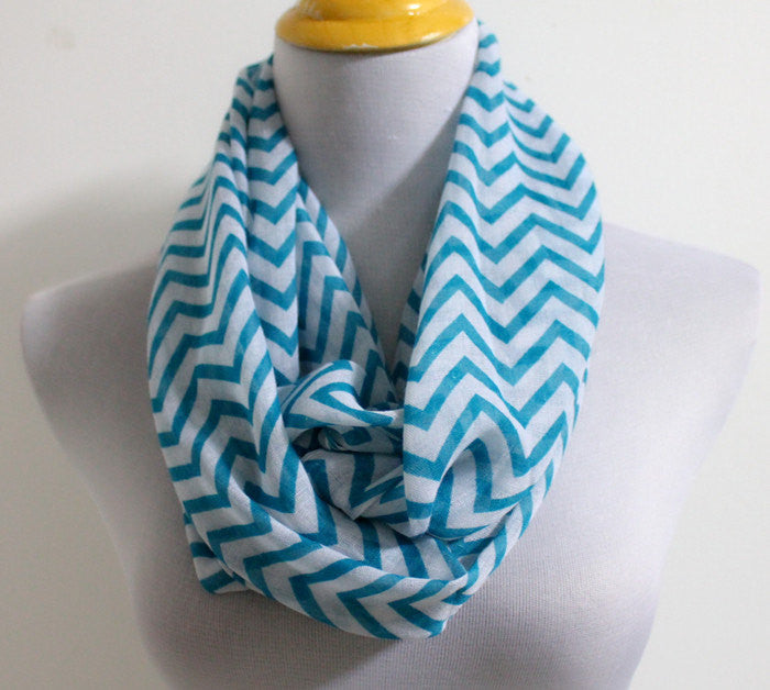 Blue Chevron Infinity Scarf - Bean Concept - Etsy