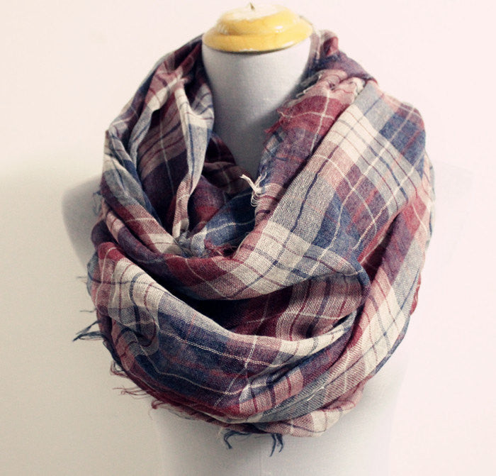 Plaid Woven Scarf with Baby Fringes - Bean Concept - Etsy