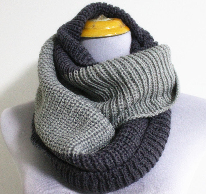 Light Grey Knitted Infinity Scarf - Bean Concept - Etsy