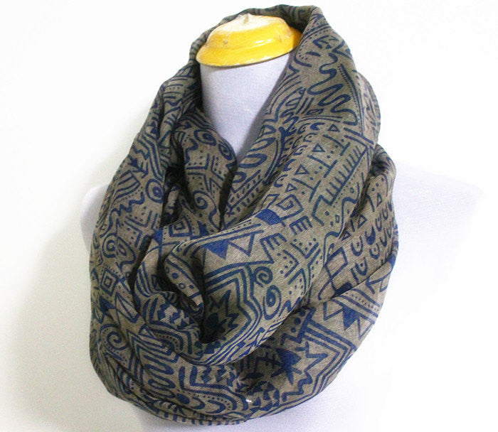 Gray Aztec Infinity Scarf - Bean Concept - Etsy