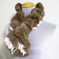Soft Fur Scarf with White Lace Trim Lace - Bean Concept - Etsy