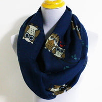 Owl On Tree Branch Infinity Scarf - Bean Concept - Etsy