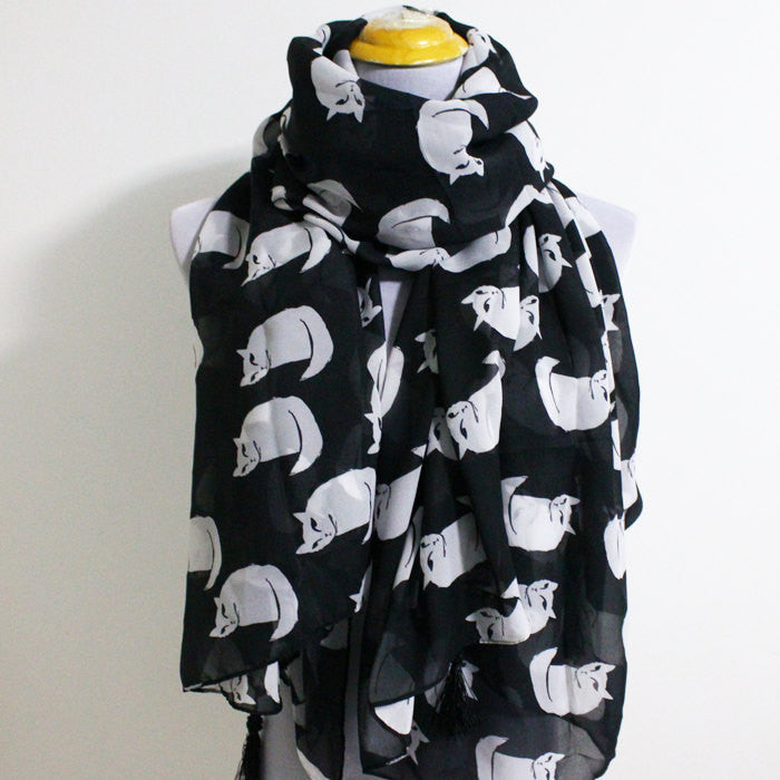 Large Cat Scarf with Tassels - Bean Concept - Etsy