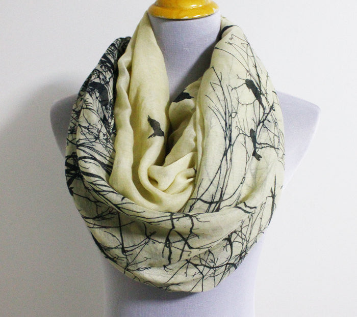 Winter Bird Infinity Scarf - Bean Concept - Etsy