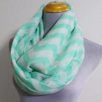 Mint Chevron Infinity Scarf - Bean Concept - Etsy
