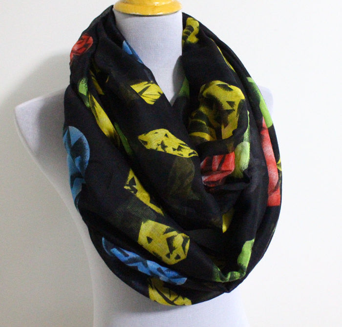 Black Colorful Diamond Scarf - Bean Concept - Etsy