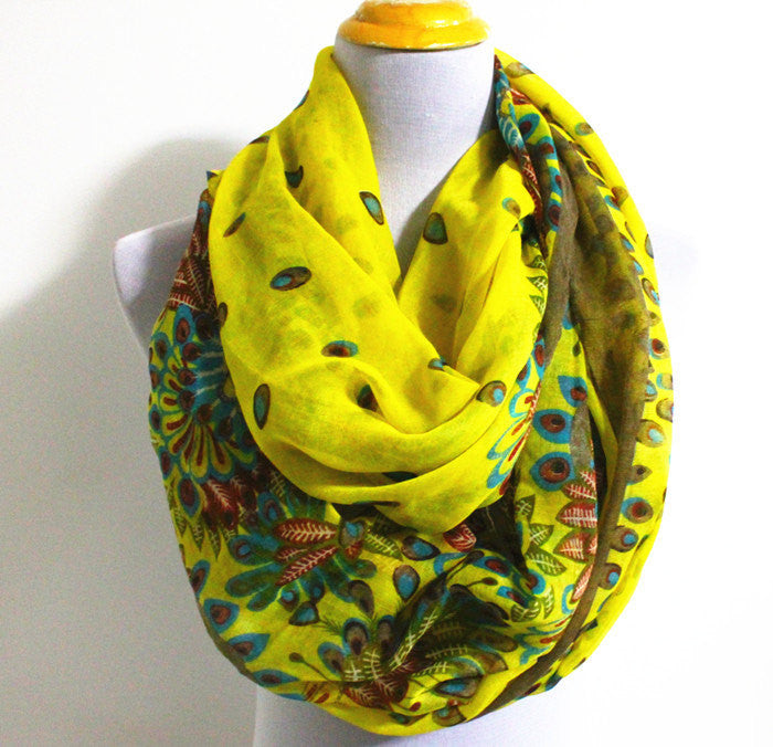 Paisley Floral Infinity Scarf - Bean Concept - Etsy