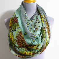 Mint Flower Aztec Pattern infinity Scarf - Bean Concept - Etsy
