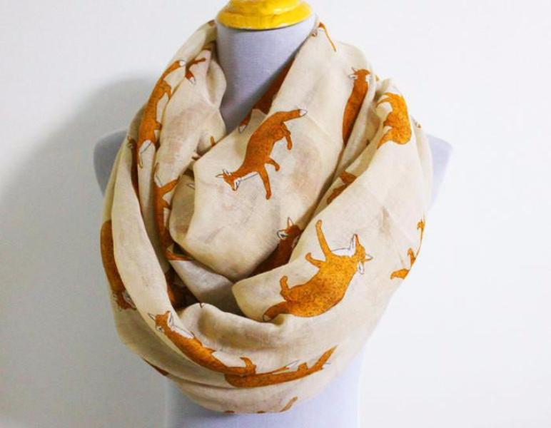 Beige Fox Infinity Scarf - Bean Concept - Etsy