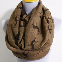 Mocha Brown Christmas Reindeer Infinity Scarf - Bean Concept - Etsy