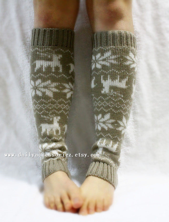 Christmas Deer Knitted Leg Warmers - Bean Concept - Etsy