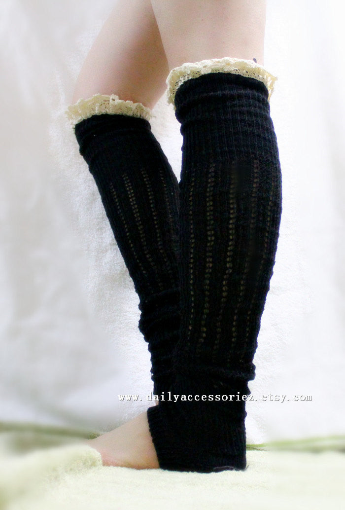 Long Lace Knitted Leg Warmers - Bean Concept - Etsy
