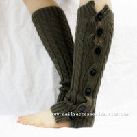 Black Cable Knitted Leg Warmers with Buttons - Bean Concept - Etsy