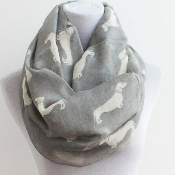 Dachshunds Dog Scarf Infinity Scarf - Gray - Bean Concept