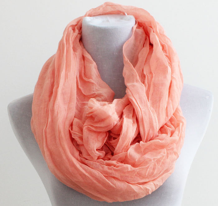 Soft Coral Infinity Scarf - Bean Concept - Etsy
