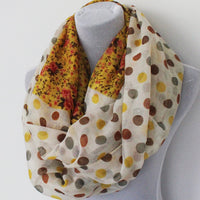 Fall Color Polka Dot and Flower Infinity Scarf - Bean Concept - Etsy