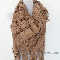 Square Knit Soft Tassled Knit Scarf - Bean Concept - Etsy
