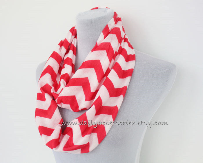 Pink Jersey Chevron Infinity Scarf - Bean Concept - Etsy