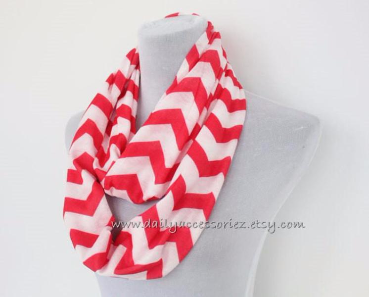 Red Chevron Scarf - Bean Concept - Etsy