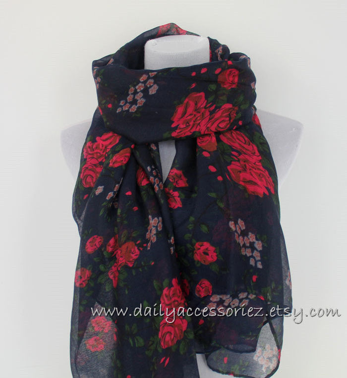 Navy Blue Rose Fower Infinity Scarf - Bean Concept - Etsy