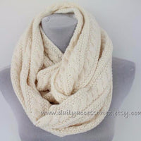 Chunky Cable Knit Soft Oatmeal Knit Scarf - Bean Concept - Etsy