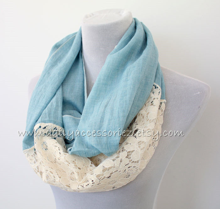 Blue Lace Infinity Scarf - Bean Concept - Etsy