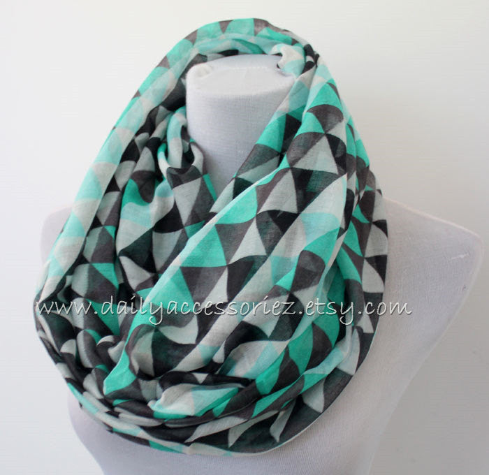 Printed Triangle Pattern Loop Scarf - Bean Concept - Etsy