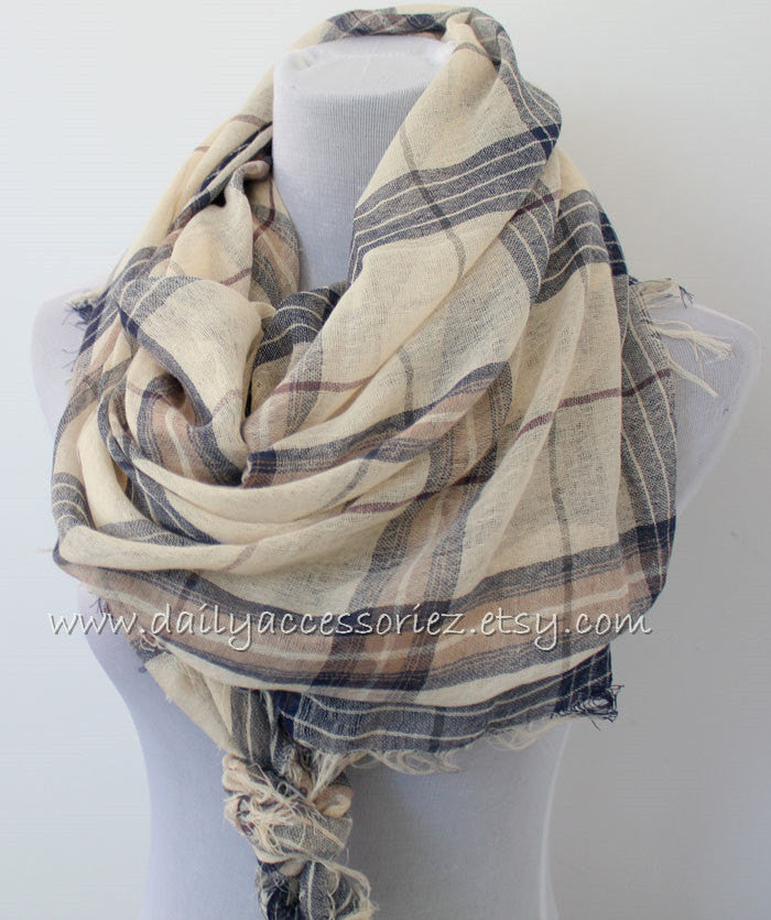Large Brown Plaid Scarf with Fringes - Bean Concept - Etsy