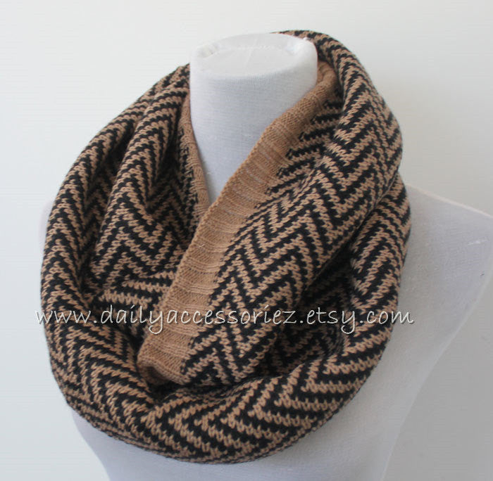 Gray Chevron Knitted Infinity Scarf - Bean Concept - Etsy