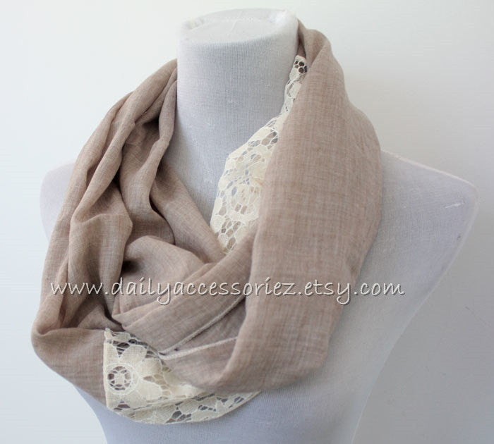 Mocha Brown Lace Infinity Scarf - Bean Concept - Etsy