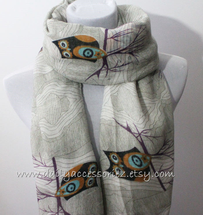 Owl with Tree Stump Scarf - Bean Concept - Etsy