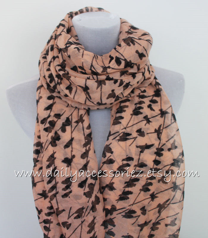 Coral Pink Bird on Branch Scarf - Bean Concept - Etsy