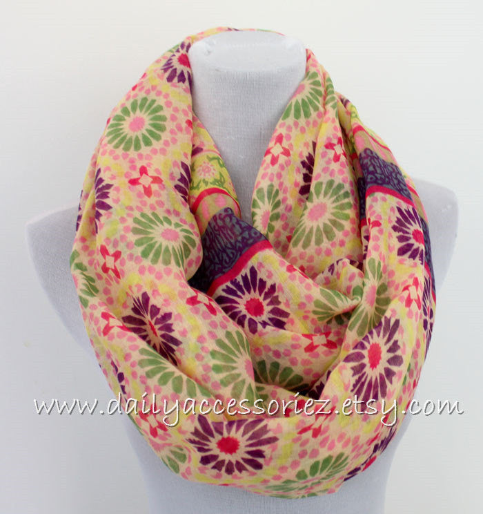 Pink Multicolored Flower Infinity Scarf - Bean Concept - Etsy