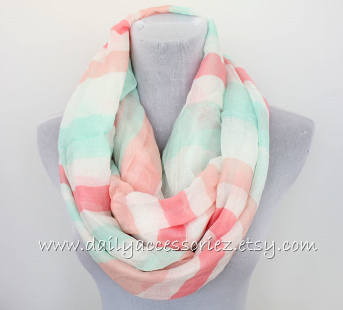 Pastel Colored Stripe Infinity Scarf - Bean Concept - Etsy