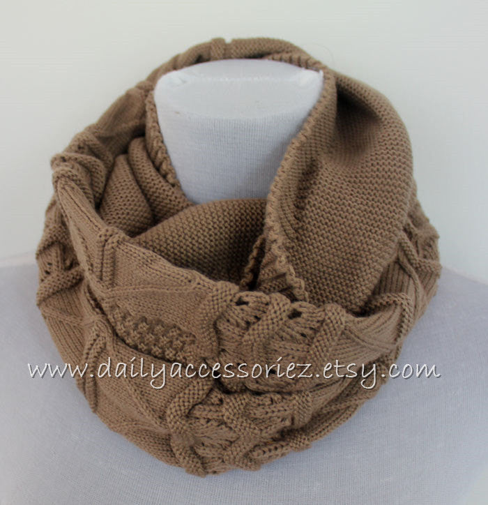 Oatmeal Knit Scarf Infinity Scarf - Bean Concept - Etsy