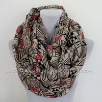 Large Aztec Infinity Scarf with Tassels - Bean Concept - Etsy
