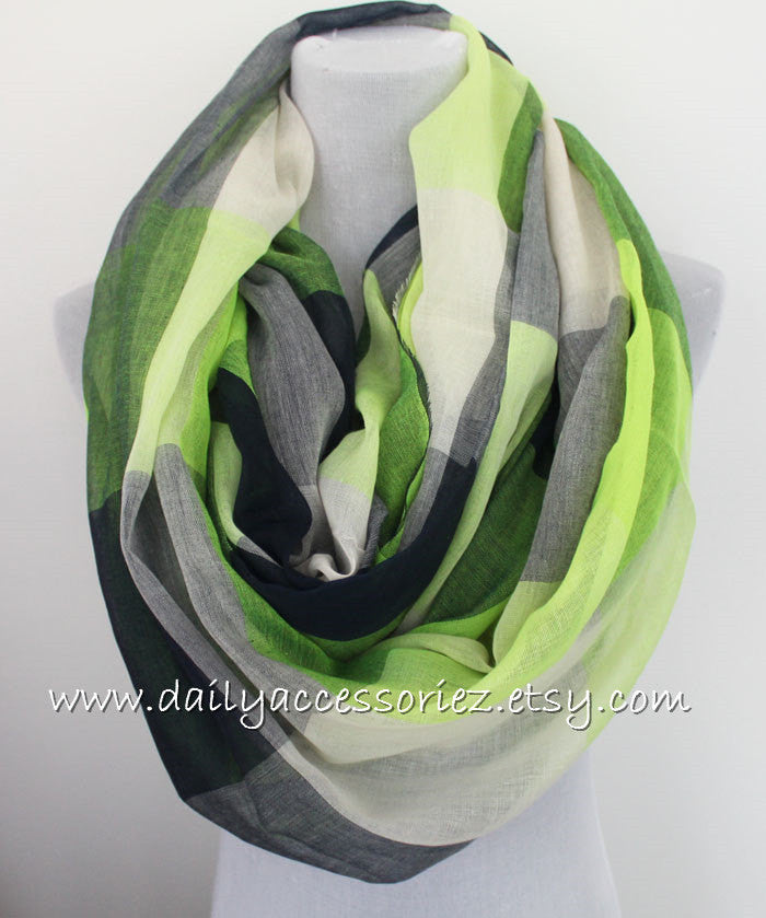 Green Large Geometric Scarf - Bean Concept - Etsy