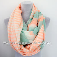 Neon Orange and Mint Green Infinity Scarf - Bean Concept - Etsy