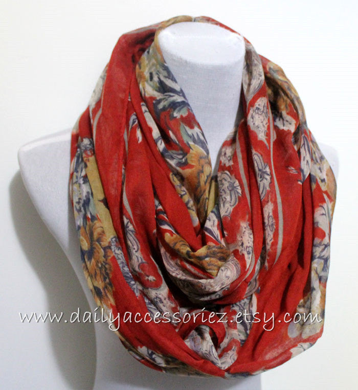 Red Peony Infinity Scarf - Bean Concept - Etsy