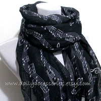Black Music Sheet Infinity Scarf - Bean Concept - Etsy