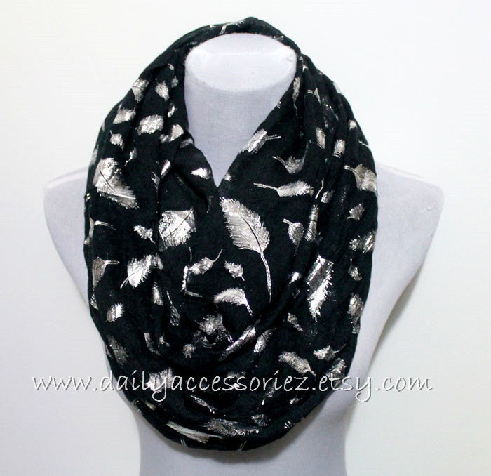 Black Glittered Feather Scarf - Bean Concept - Etsy