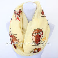 Yellow Owl Infinity Scarf - Bean Concept - Etsy