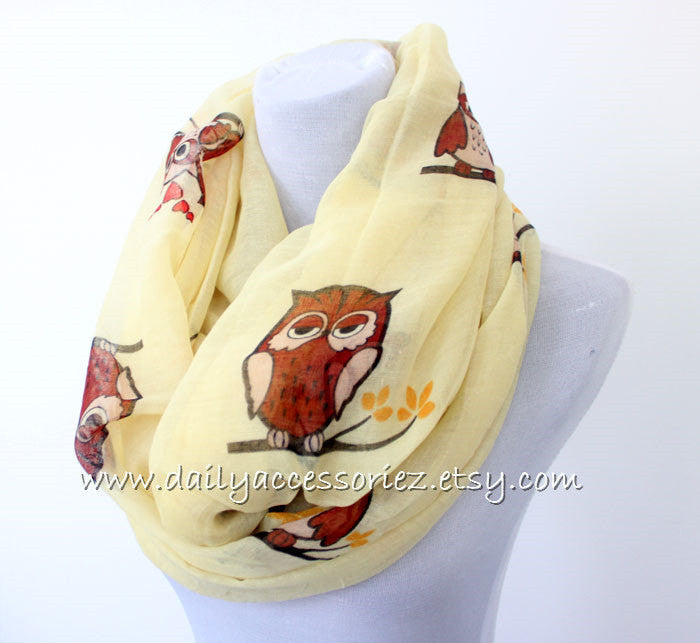 Off White Owl Infinity Scarf - Bean Concept - Etsy