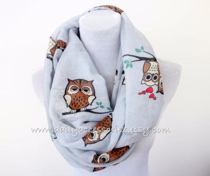 Light Gray Owl Infinity Scarf - Bean Concept - Etsy