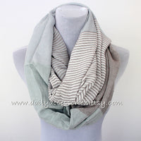 Gray Stripe and Color Block Infinity Scarf - Bean Concept - Etsy