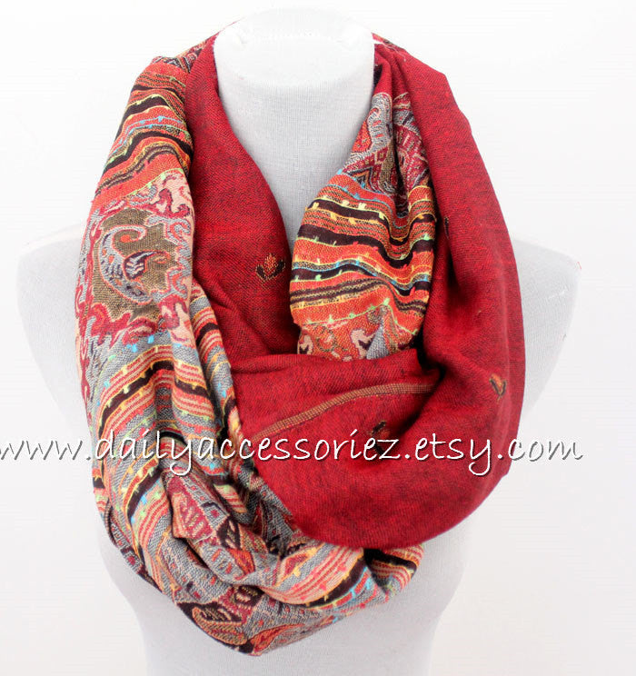 Red Paisley Pashmina Scarf - Bean Concept - Etsy